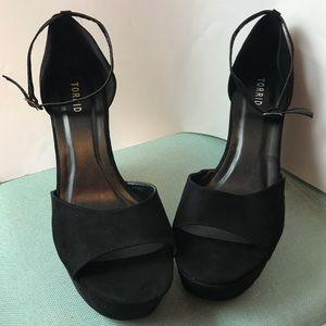 Black Block Suede Chunky Platform Heels